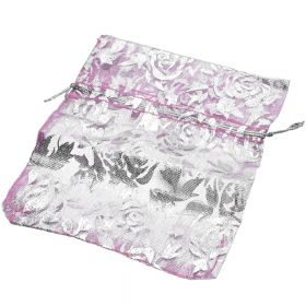 Organza bag / 10x12cm / pink with silver roses / 5pcs