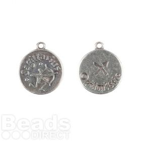 Antique Silver Zamak Zodiac Sagittarius Coin Charms 12mm Pk1