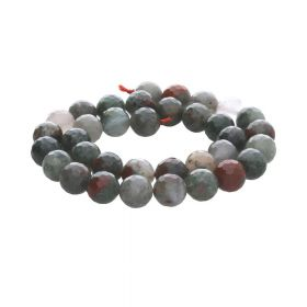 African bloodstone / faceted round / 10mm / 35pcs