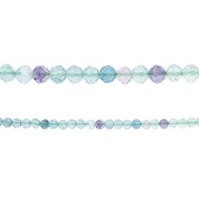"Fluorite Semi Precious Faceted Round Beads 4mm 15"" Strand"