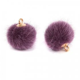Purple Faux Fur Pom Pom Ball Charm with Gold Loop 16mm Pk2