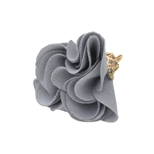 Satin Flower / with an openwork tip / 26mm / Gold Plated /grey / 2 pcs