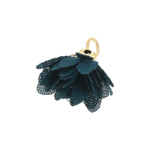 Tulle flower / with openwork tip / 18mm / Gold Plated / dark sea / 4 pcs