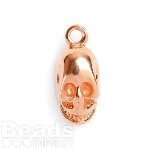 Rose Gold Plated Skull Charm with Loop 15x9mm Pk1
