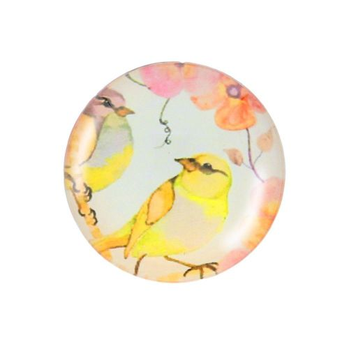 Glass cabochon with graphics K20 PT1219 / yellow-pink / 20mm / 2pcs