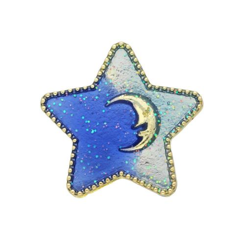 SweetCharm ™ / Star with moon / spacer / 30x30x7mm / gold, blue / loop 5mm / 1pcs