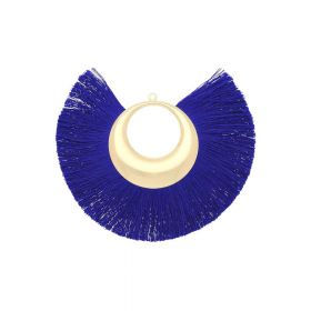 Fan tassel / viscose thread with moon base / 90mm / cobalt / 1pcs