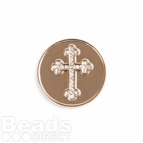 KB Small Rose Gold Crystal Cross Coin Disk for Interchangeable Locket 24mm Pk1