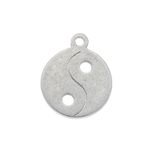 Yin and Yang / charm / surgical steel / 11x9mm / silver / 4pcs