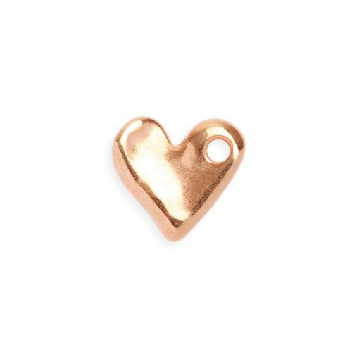 X- Rose Gold Plated Zamak Irregular Small Heart Charm 16mm Pk2