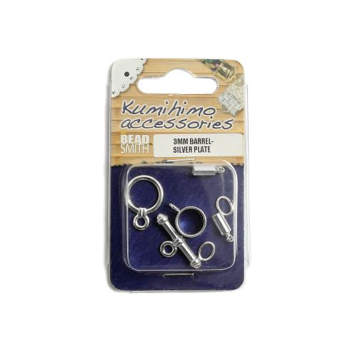 Kumihimo Findings Set 3mm Barrel Silver Plated