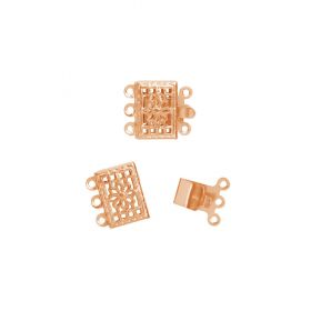 Rose Gold Plated Filigree Box Clasp Set 3 Strand 8x10mm Pk1