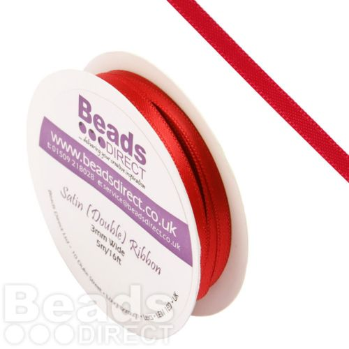 Red Double Satin Ribbon 3mm Sold on a 5 Metre Reel