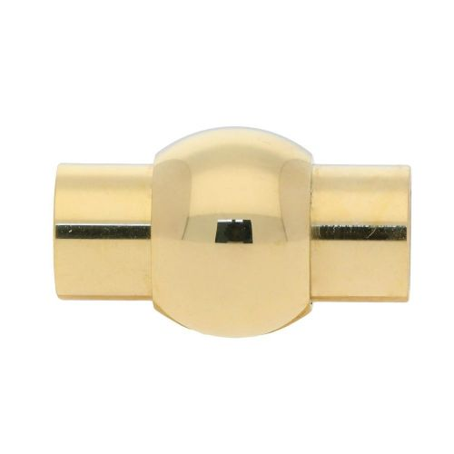 Magnetic clasp / surgical steel / cylindrical with ball / 15x8x8mm / gold / hole 3mm / 1pcs