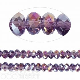 Essential Crystal Faceted 6mm Rondelle Purple Violet AB 100pack