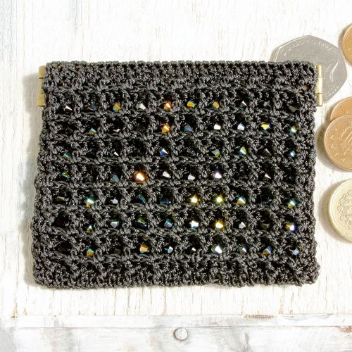 Black Crochet Coin Purse Kit by Dorothy Wood
