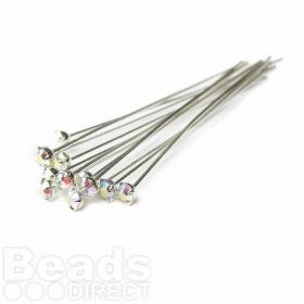 17704 Swarovski Rhodium Plated Headpins with AB Crystal 0.5x39mm Pk12