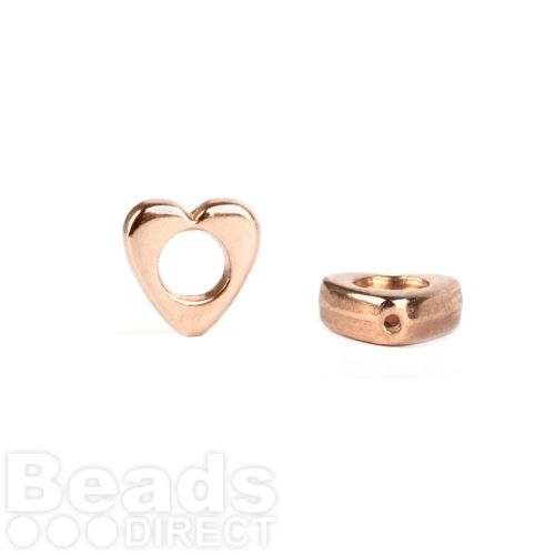 Rose Gold Plated Cut Out Heart Beads 8mm Pk5