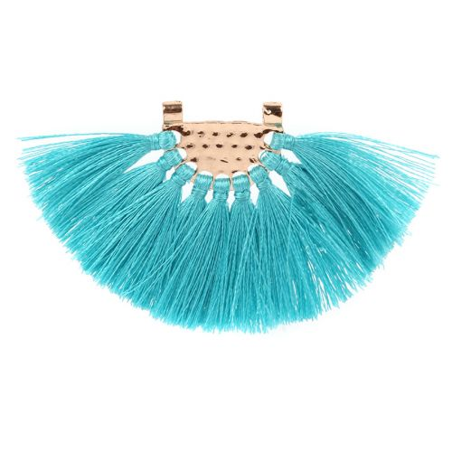 Turquoise Fan Tassel with Gold Plated Hammered Top 45x80mm Pk1