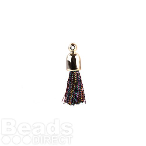 Multi Colour Pom Pom Tassel Charm with Cup End 25mm Pk2