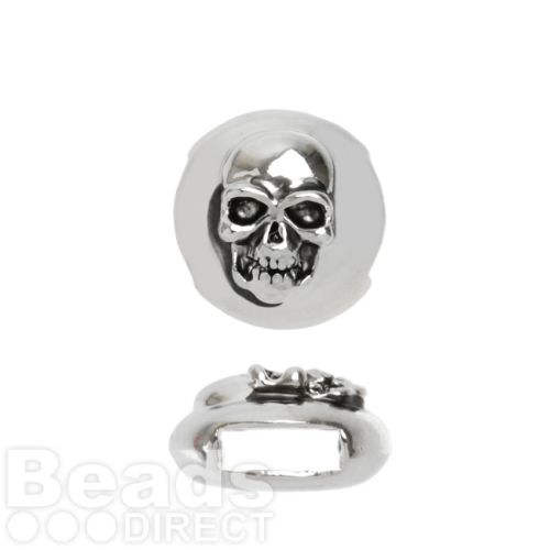 X-Antique Silver Slider Charm Bead Skull Design 12mm Pk1