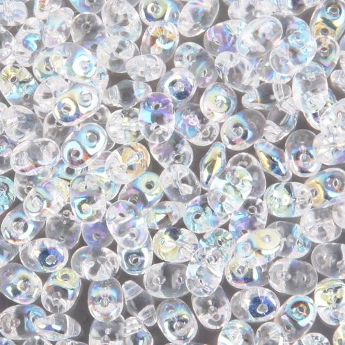 Crystal Clear AB SuperDuo Twin Hole Beads 2mm x 5mm 10g