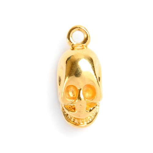 X-Gold Plated Skull Charm/Pendant with Loop 15x9mm Pk1