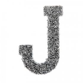 Swarovski Crystal Letter 'J' Self-Adhesive Fabric-It Black CAL Pk1