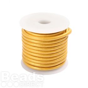Gold Round Leather 2mm Cord 5 Metre Reel