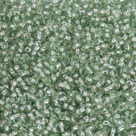 Preciosa Size 10 Round Seed Beads Silver Lined Apple Green 50g