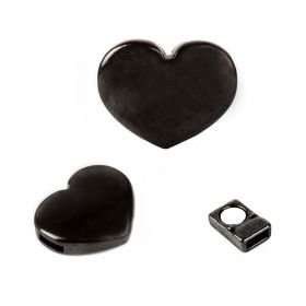 Gunmetal Plated Magnetic Heart Clasp for 5mm Cord 16x20mm Pk1