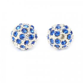 Silver Plated Round Bead With Blue Crystal 10mm Pk2