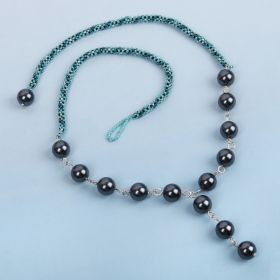 Turquoise & Damson Beaded Rope with Pearls Necklace Kit - Makes x1