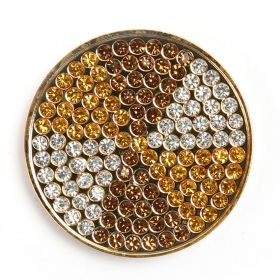 Gold Plated Topaz/Yellow Crystal Coin Disk for Interchangeable Locket 32mm Pk1