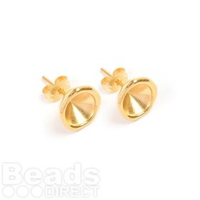 Gold Plated Zamak Earring Cups for SS39 (8mm) Chaton 11.5mm with Backs 1xPair
