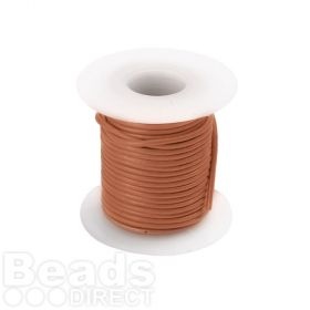Tan/Orange Round Leather Cord 1mm 5 Metres Reel