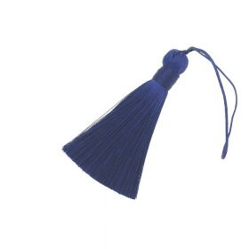 Tassel / viscose thread / with wide braid / 85mm / width 11mm / dark blue / 1pcs
