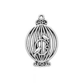 Birds in a cage / charm / 34x21x2.5mm / silver / 2pcs