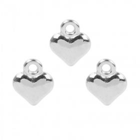 Antique Silver Small Heart Charm 11.5x13.5mm Pk3