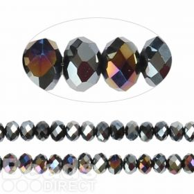 Essential Crystal Faceted 6mm Rondelle Jet AB 100pack