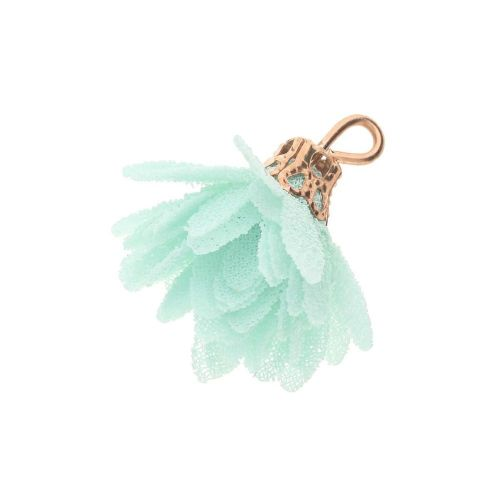 Tulle flower / with openwork tip / 18mm / Gold Plated / mint / 4 pcs