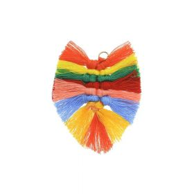 Cotton thread / feather / 75mm / multicolour / 1pcs
