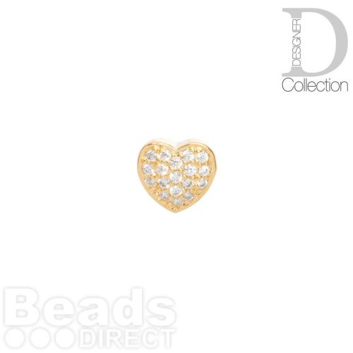 Gold Plated Heart Slider Bead Cubic Zirconia 8mm Hole 4x6mm Pk1