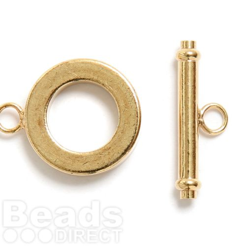 Gold Plated Medium 15mm Toggle Clasp Pk2