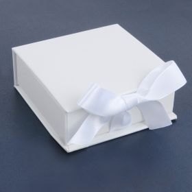 White Square Medium Premium Jewellery Gift Box with Ribbon Fasten 3x8.5cm Pk1