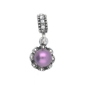Glamm ™ Pearl / pendant charms / with cubic zirconia/ 25x11x8mm / silver plated / purple / 1pcs