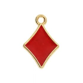 SweetCharm ™ Diamond / pendant charms / 15x10x1.5mm / gold plated / red / 2pcs