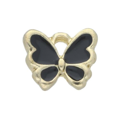 SweetCharm ™ Butterfly / charm pendant / 10x12.5x2mm / gold plated / black / 2pcs