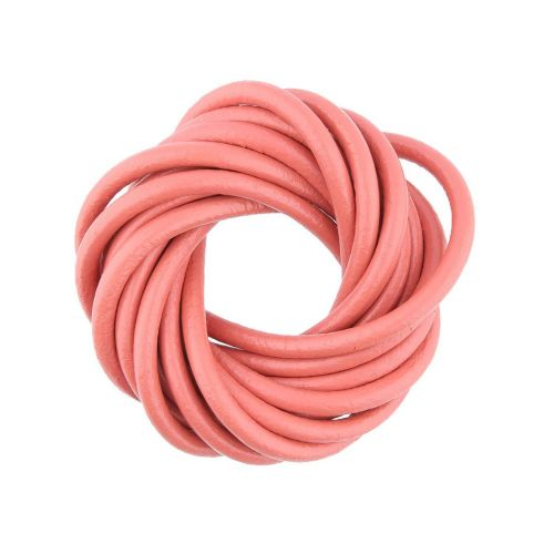 Leather cord / natural / round / 4mm / coral / 2m