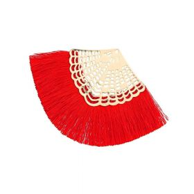 Fan tassel / viscose thread / openwork base / 65mm / red / 1pcs